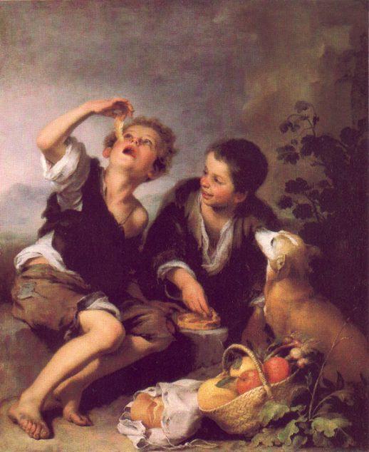2 niños comiendo pastel. Cuadro de Murillo